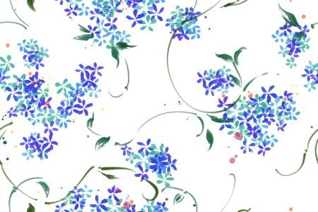 Colourful pattern with tropical leaves and flowers. Raster seamless watercolor pattern. Good for textiles and paper wrapper. Light pastel color 免版税图像