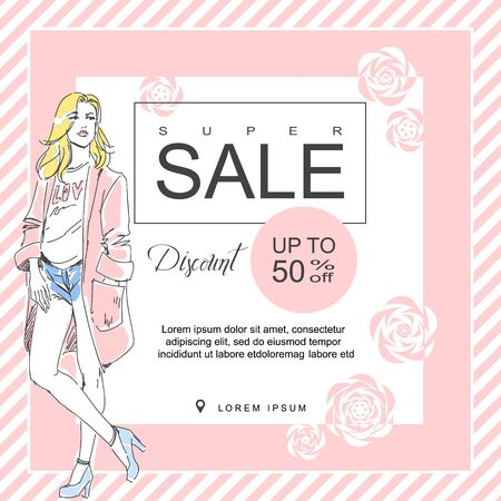 Layout for a big sale in fashion shop. Drawn fashion elegant girl in stylish clothes. color booklet. Square brochure