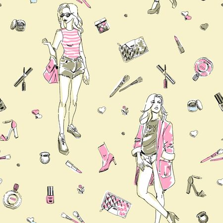 Seamless fashion pattern with elegant glamour girls, cosmetics and accessories. Doodle sketchy style of fashion people. Hand drawing pattern.  Good for paper wrapper, textiles.