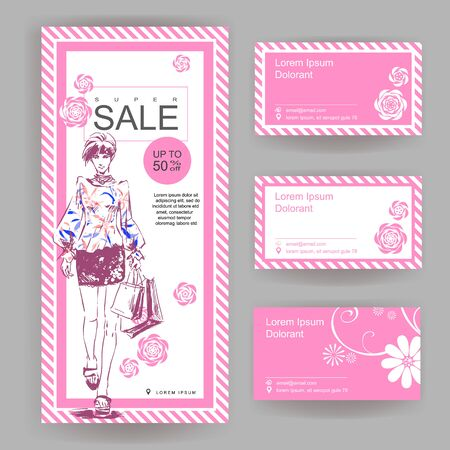 Layout for a big sale in fashion shop. Drawn fashion elegant girl in stylish clothes. Vector color booklet with business cards. Euro brochure 向量圖像