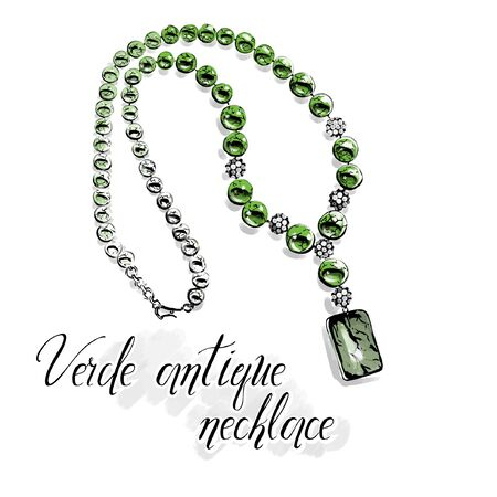 Vector fashion illustration. Beautiful necklace with big shiny beads of semiprecious stones, green verde antique .Isolated drawing on white with a black line contour. Graphic for jewelry salon.  Ilustração