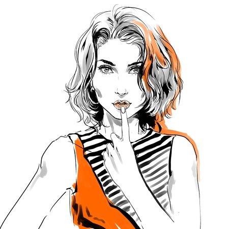 Watercolor drawing, fashion illustration. Young caucasian flirty woman with modern haircut and big eyes touching her sensual lips by hand. Grey and orange colors.Isolated on white