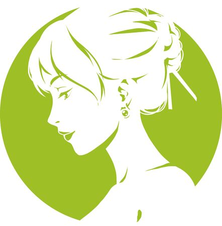 Fashion logo with head of young elegant girl, female pretty face in profile. Simple sign. Vector emblem for hairdresser, spa salon, beuty shop for woman. Green color