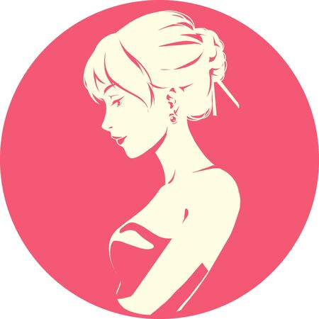Fashion logo with head of young elegant girl, female pretty face in profile. Simple sign. Vector emblem for hairdresser, spa salon, beuty shop for woman. Red color