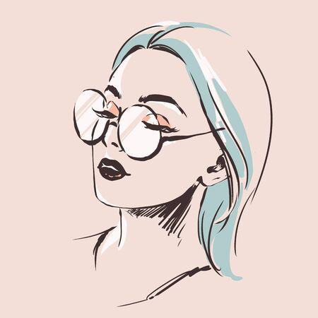 Retrato femenino de moda en espectáculos. Mujer joven elegante con bello rostro en gafas. Estilo moderno y sencillo con colores mínimos. Arte de línea negra. Ilustración de vector dibujado a mano, eps10 para salón de óptica