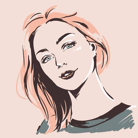 Fashion female portrait. Elegant young woman with beautiful face.  Simple modern style with minimum colors. Black line art. Hand drawn vector illustration, eps10. Ilustracja