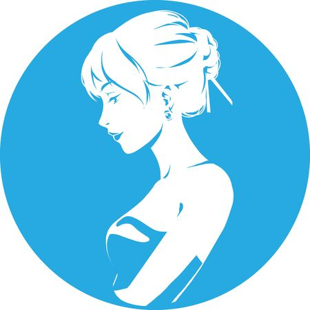 Fashion logo with head of young elegant girl, female pretty face in profile. Simple sign. Vector emblem for hairdresser, spa salon, beuty shop for woman. Blue color