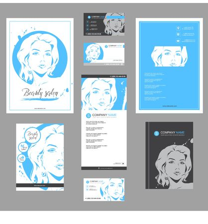 Big set of hand drawn templates for card, flyer, poster, brochure and leaflet design. Fashion illustration with woman fits for fashion shop, magazine, spa salon, hairdresser salon Vector graphic. Ilustracja