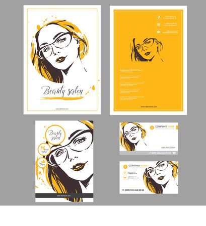 Big set of hand drawn templates for card, flyer, poster, brochure and leaflet design. Fashion illustration with woman fits for fashion shop, optics, spa salon, hairdresser salon Vector graphic. Yellow orange color