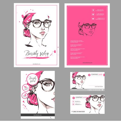 Big set of hand drawn templates for card, flyer, poster, brochure and leaflet design. Fashion illustration with woman fits for fashion shop, optics, spa salon, hairdresser salon Vector graphic. Red pink color Ilustracja