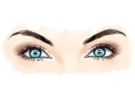 Eyes with eye shadows and mascara, close up view. Freehand drawing, comics style. Vector fashion illustration for cosmetics salon, beauty shop, makeup salon etc.