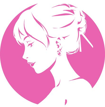 Fashion logo with head of young elegant girl, female pretty face in profile. Simple sign. Vector emblem for hairdresser, spa salon, beuty shop for woman. Pink color Ilustracja
