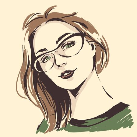 Fashion female portrait in spectacles. Elegant young woman with beautiful face in glasses.  Simple modern style with minimum colors. Black line art. Hand drawn vector illustration, eps10 for optics salon Zdjęcie Seryjne - 128427853