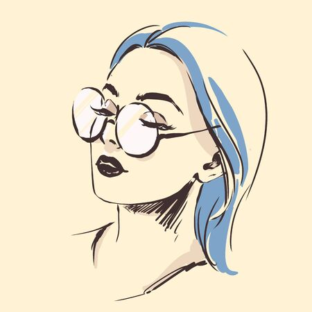 Fashion female portrait in spectacles. Elegant young woman with beautiful face in glasses. Simple modern style with minimum colors. Black line art. Hand drawn vector illustration