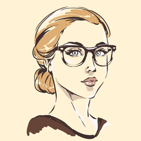 Fashion female portrait in spectacles. Elegant young woman with beautiful face in glasses.  Simple modern style with minimum colors. Black line art Stock Vector - 128428092