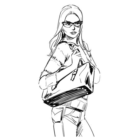 Sketch of beautiful slim elegant woman in fashion summer clothes in glasses with bag. Vector illustration. Scribble hand drawing by black lines, freehand.