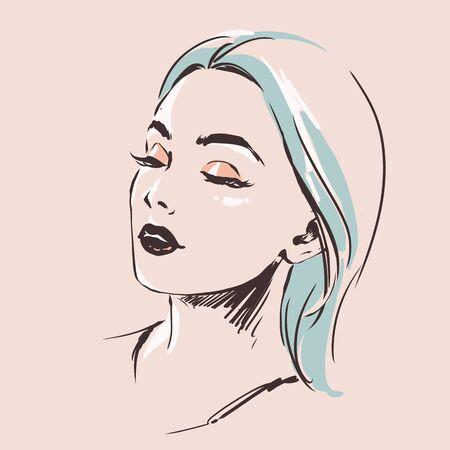 Fashion female portrait. Elegant young woman with beautiful face.  Simple modern style with minimum colors. Black line art. Hand drawn vector illustration, eps10. Illusztráció