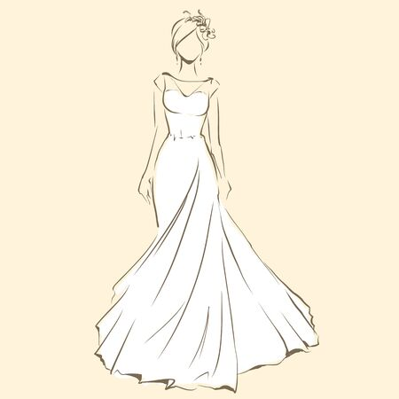Elegant bride in beautiful dress. Standing and posing. Sketch slender silhouette of woman, line artwork for invitation or banner. Vector drawing, freehand