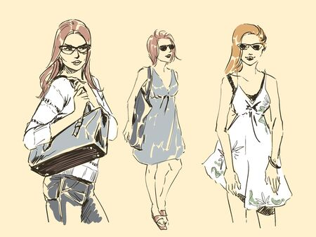 Set of sketches of beautiful slim elegant women in fashion summer clothes in glasses with bag. Vector illustration. Scribble hand drawing by black lines, freehand.