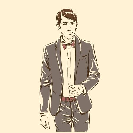 Elegant handsome groom in smoking jacket and bowtie. Standing and posing. Sketch silhouette of man, line artwork for invitation or banner. Vector fashion illustration of fiance, freehand