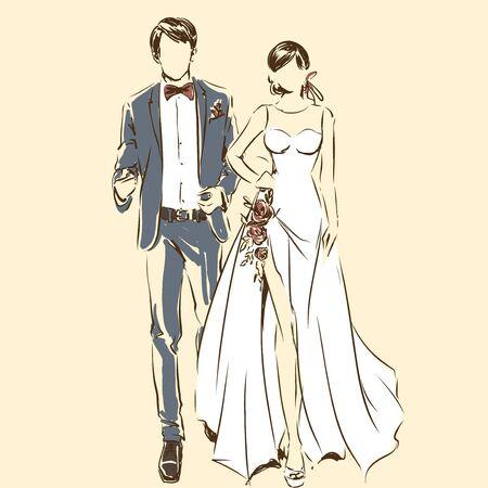 Silhouette des Paares, der Braut und des Bräutigams, die durch schwarze Linien zeichnen. Vektor-Freihand-Cartoon-Stil. Hochzeitszeremonie. Elegante Braut im schönen Kleid und im hübschen Verlobten. Artwork für Einladungskarte, Banner