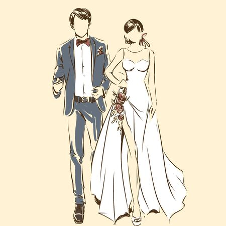 Silhouette of couple, bride and groom drawing by black lines. Vector freehand cartoon style. Wedding ceremony. Elegant bride in beautiful dress and handsome fiance. Artwork for invitation card, banner Ilustração