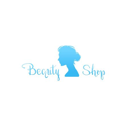 Beautiful modern simple logo with woman profile for hairdressing salon. Pretty female head with stylish haircut. Vector graphic. Archivio Fotografico - 133829610