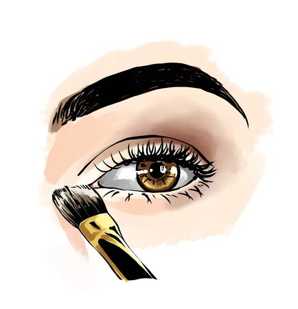 Eyes with eye shadows and mascara, close up view. Freehand drawing, comics style. Drawing, fashion illustration for cosmetics salon, beauty shop, makeup salon etc. Hazel brown eyes Stockfoto