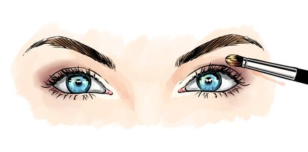 Eyes with eye shadows and mascara, close up view. Freehand drawing, comics style. Drawing, fashion illustration for cosmetics salon, beauty shop, makeup salon etc. Blue eyes Stockfoto