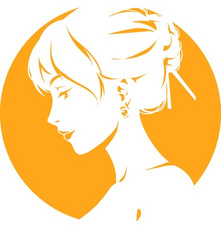 Fashion logo with head of young elegant girl, female pretty face in profile. Simple sign. Vector emblem for hairdresser, spa salon, beuty shop for woman. Orange color