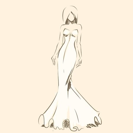 Elegant bride in beautiful dress. Standing and posing. Sketch slender silhouette of woman, line artwork for invitation or banner. raster drawing, freehand