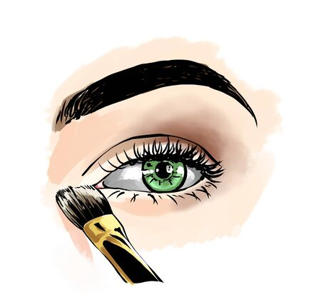 Eyes with eye shadows and mascara, close up view. Freehand drawing, comics style. Drawing, fashion illustration for cosmetics salon, beauty shop, makeup salon etc. Green eyes Stockfoto