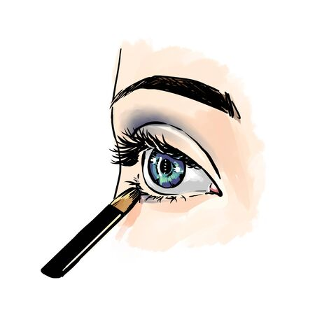 Eyes with eye shadows and mascara, close up view. Freehand drawing, comics style. Drawing, fashion illustration for cosmetics salon, beauty shop, makeup salon etc. Blue eyes Stock fotó