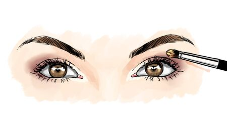 Eyes with eye shadows and mascara, close up view. Freehand drawing, comics style. Drawing, fashion illustration for cosmetics salon, beauty shop, makeup salon etc. Hazel brown eyes Stock fotó