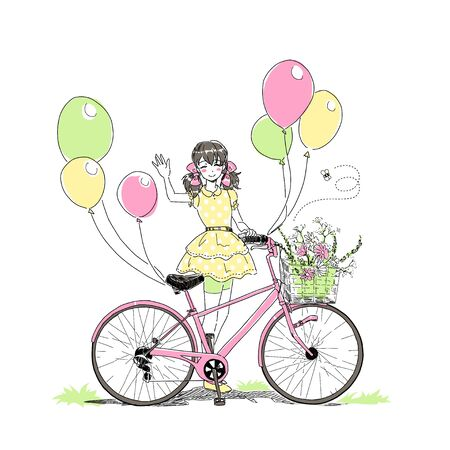 Summer or spring time, cute elegant blonde girl riding a bike with floral baskets and singing, nice romantic  raster postcard. Free hand drawing card on white background. Happy birtday card 版權商用圖片