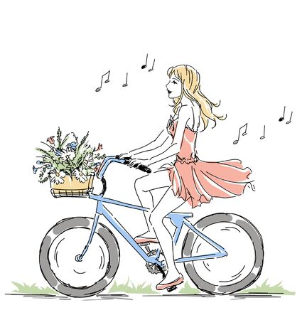 Summer or spring time, cute elegant blonde girl riding a bike with floral baskets and singing, nice romantic raster postcard. Free hand drawing on white background.