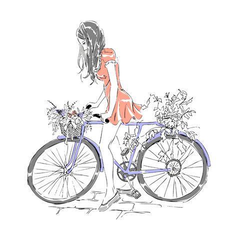 Summer or spring time, cute elegant girl riding a bike with floral baskets, nice romantic postcard. Free hand drawing on white background.