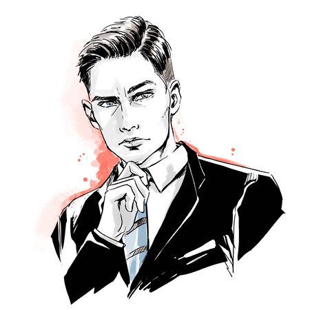 Fashion handsome man, male head, close up portrait. Thinking stylish guy in business suit with tie and modern haircut. Color vector hand drawing