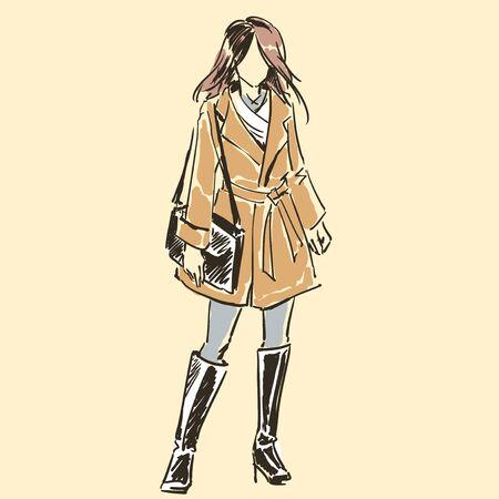 Dibujo de hermosa mujer elegante delgada en ropa de moda de verano con bolso de mujer. Silueta de contorno. Ilustración de vector. Dibujo a mano alzada por líneas negras, a mano alzada.