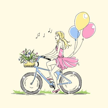Summer or spring time, cute elegant blonde girl riding a bike with floral baskets and singing, nice romantic  vector postcard. Free hand drawing card on white background. Happy birtday card