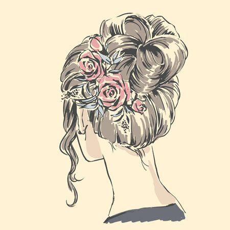 Fashion female portrait with elegant hair cut. Elegant young woman with wedding hair style.  Simple modern style with minimum colors. Black line art. Hand drawn vector illustration, eps10 for haidresser, hair salon, wedding Standard-Bild - 137968696