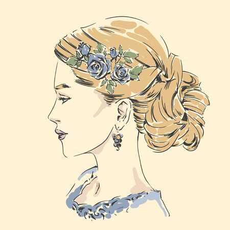 Fashion female portrait with elegant hair cut. Elegant young woman with wedding hair style.  Simple modern style with minimum colors. Black line art. Hand drawn vector illustration, eps10 for haidress