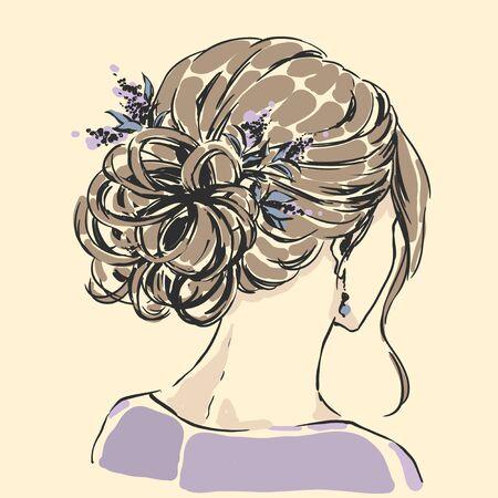 Fashion female portrait with elegant hair cut. Elegant young woman with wedding hair style.  Simple modern style with minimum colors. Black line art. Hand drawn vector illustration, eps10 for haidresser, hair salon, wedding Standard-Bild - 138893998