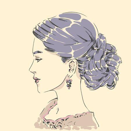 Fashion female portrait with elegant hair cut. Elegant young woman with wedding hair style.  Simple modern style with minimum colors. Black line art. Hand drawn vector illustration, eps10 for haidresser, hair salon, wedding Standard-Bild - 142537438