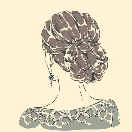 Fashion female portrait with elegant hair cut. Elegant young woman with wedding hair style.  Simple modern style with minimum colors. Black line art. Hand drawn vector illustration, eps10 for haidresser, hair salon, wedding Standard-Bild - 142541815