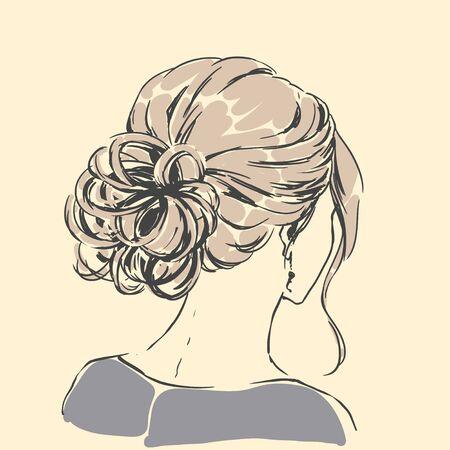Fashion female portrait with elegant hair cut. Elegant young woman with wedding hair style.  Simple modern style with minimum colors. Black line art. Hand drawn vector illustration, eps10 for haidresser, hair salon, wedding Standard-Bild - 140984397