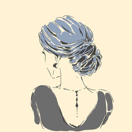 Fashion female portrait with elegant hair cut. Elegant young woman with wedding hair style.  Simple modern style with minimum colors. Black line art. Hand drawn vector illustration, eps10 for haidresser, hair salon, wedding Standard-Bild - 140984243