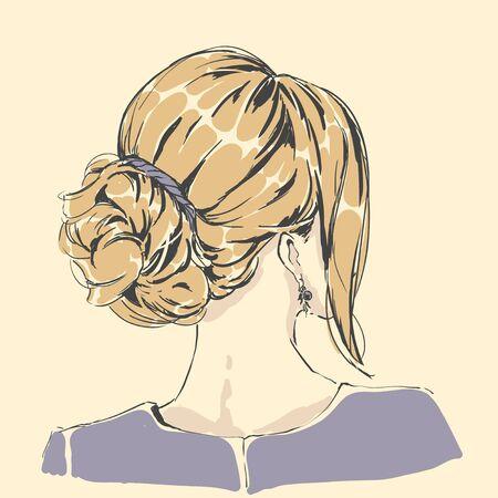 Fashion female portrait with elegant hair cut. Elegant young woman with wedding hair style. Simple modern style with minimum colors. Black line art. Hand drawn vector illustration, eps10 for haidresser, hair salon, wedding Vektorové ilustrace