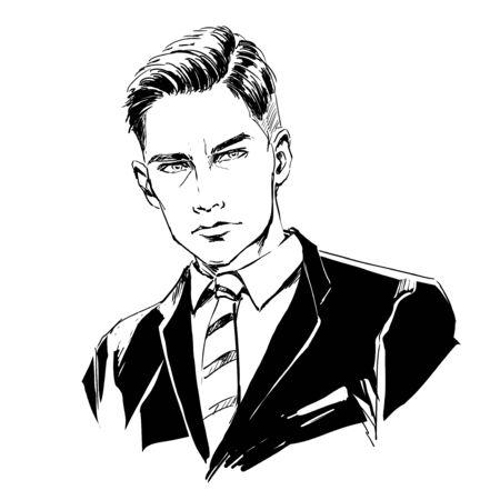 Fashion handsome man, male head, close up portrait. Modern stylish guy. Vector hand monochrome drawing