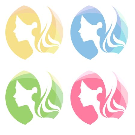 Logo icon set with head of young woman, profile of girl. Perfect for hair salon, beauty shops, spa salon etc. Vector illustration. 向量圖像